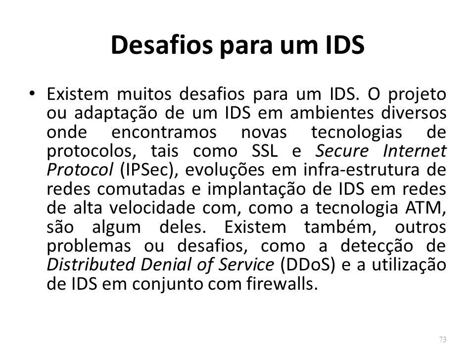 Desafios para um IDS Existem muitos desafios para um IDS.