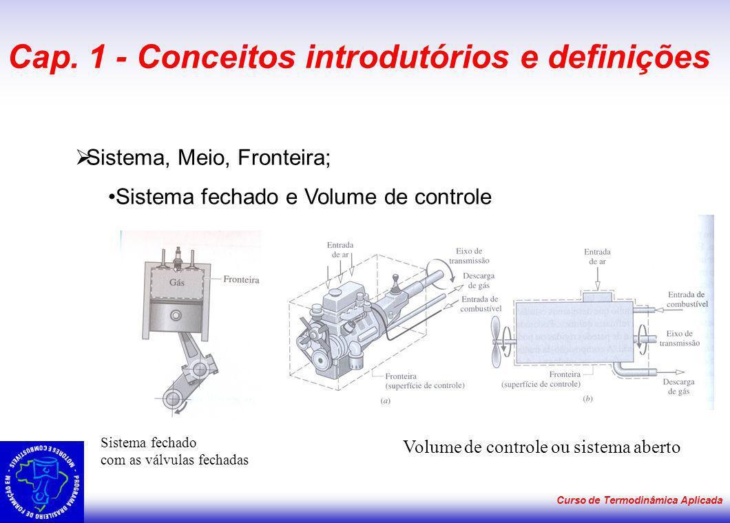 Curso de Termodinâmica Aplicada Cap. 1 - Conceitos introdutórios e definições Sistema, Meio, Fronteira; Sistema fechado e Volume de controle Volume de