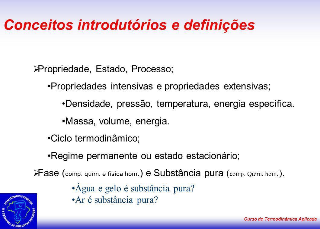 Curso de Termodinâmica Aplicada Conceitos introdutórios e definições Propriedade, Estado, Processo; Propriedades intensivas e propriedades extensivas;