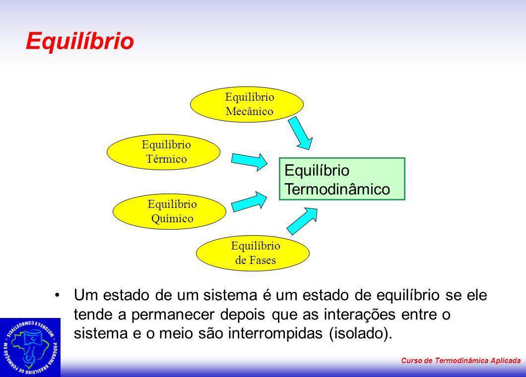Curso de Termodinâmica Aplicada Equilíbrio Um estado de um sistema é um estado de equilíbrio se ele tende a permanecer depois que as interações entre