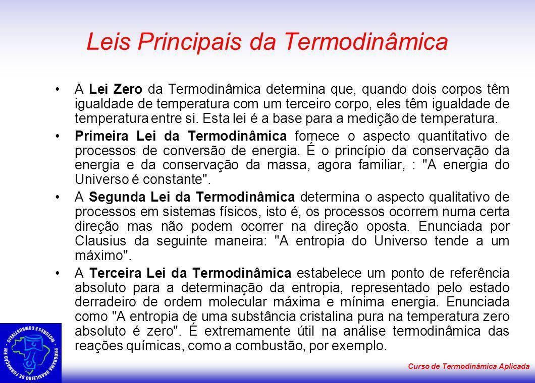 Curso de Termodinâmica Aplicada Leis Principais da Termodinâmica A Lei Zero da Termodinâmica determina que, quando dois corpos têm igualdade de temper
