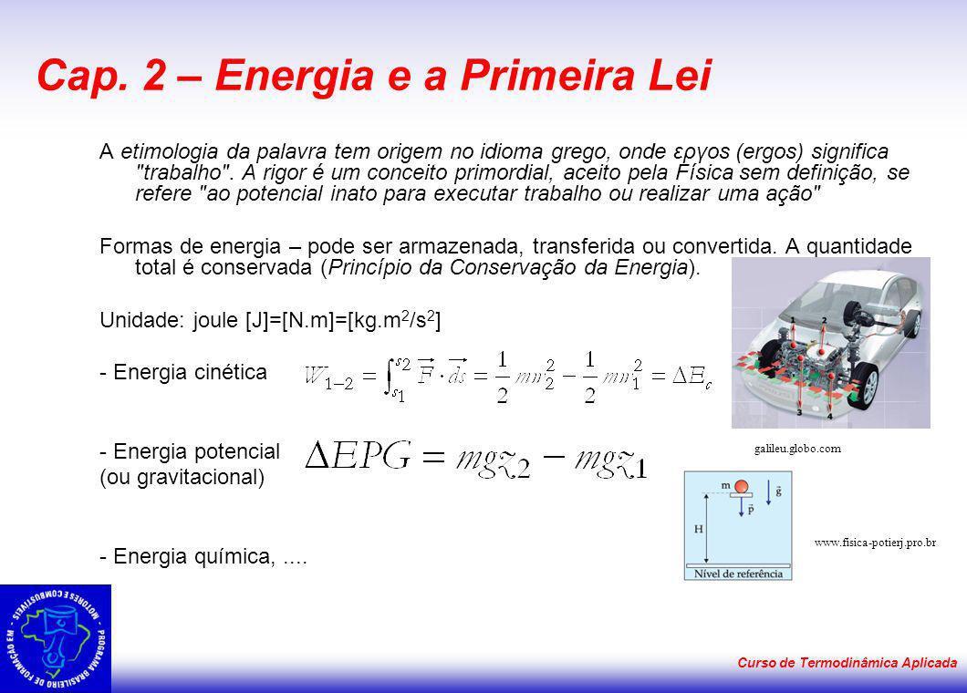 Curso de Termodinâmica Aplicada Cap. 2 – Energia e a Primeira Lei A etimologia da palavra tem origem no idioma grego, onde εργοs (ergos) significa