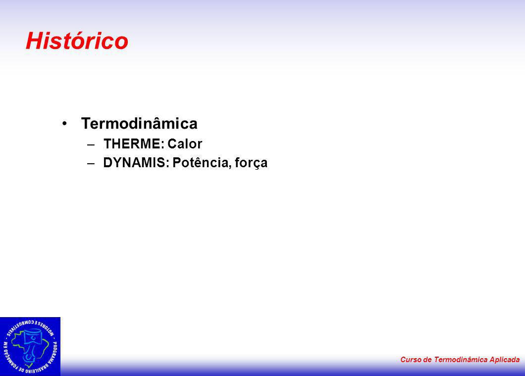 Curso de Termodinâmica Aplicada Histórico Termodinâmica –THERME: Calor –DYNAMIS: Potência, força