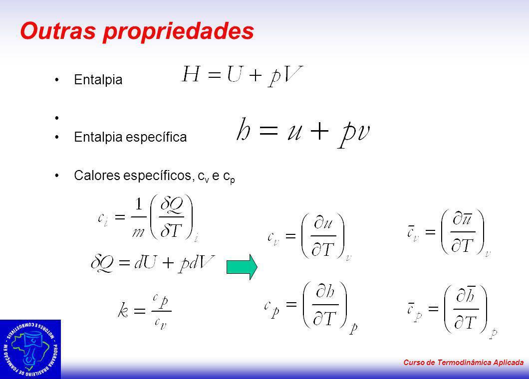 Curso de Termodinâmica Aplicada Outras propriedades Entalpia Entalpia específica Calores específicos, c v e c p