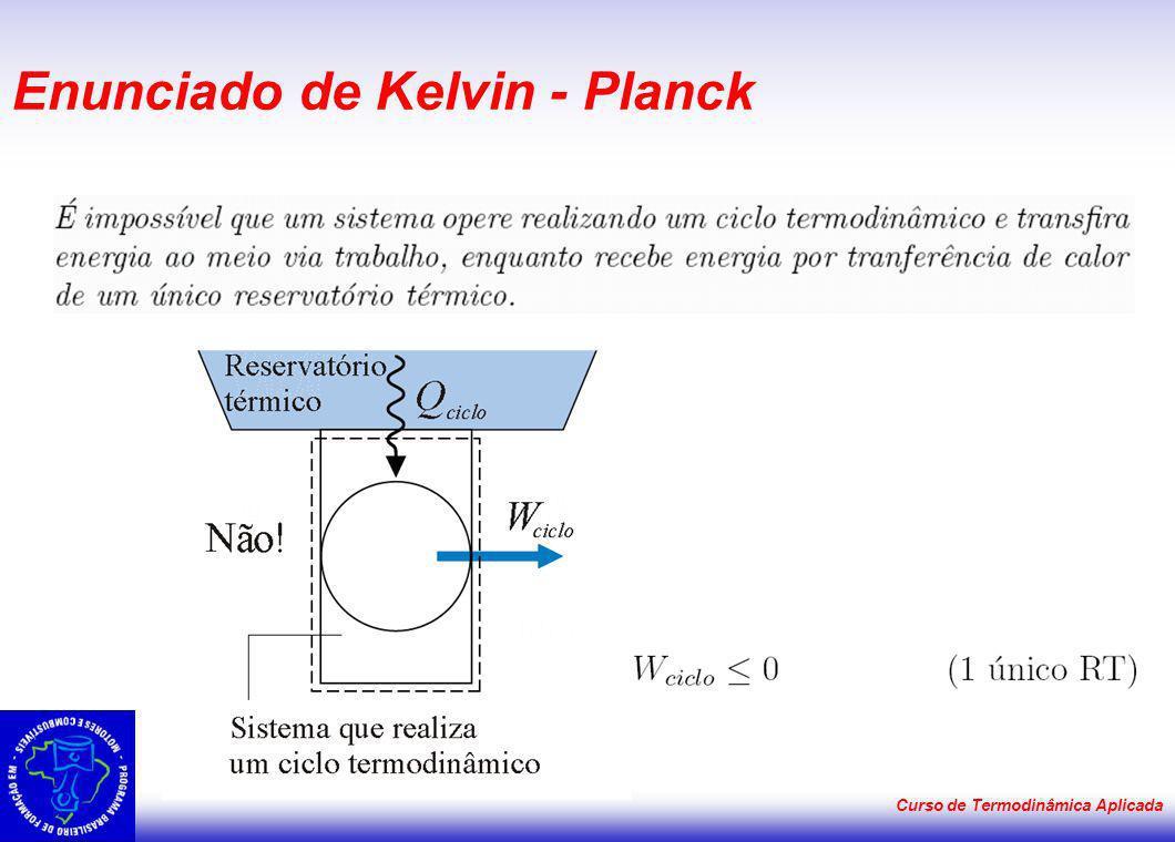 Curso de Termodinâmica Aplicada Enunciado de Kelvin - Planck