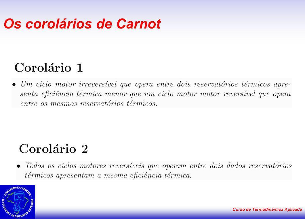 Curso de Termodinâmica Aplicada Os corolários de Carnot