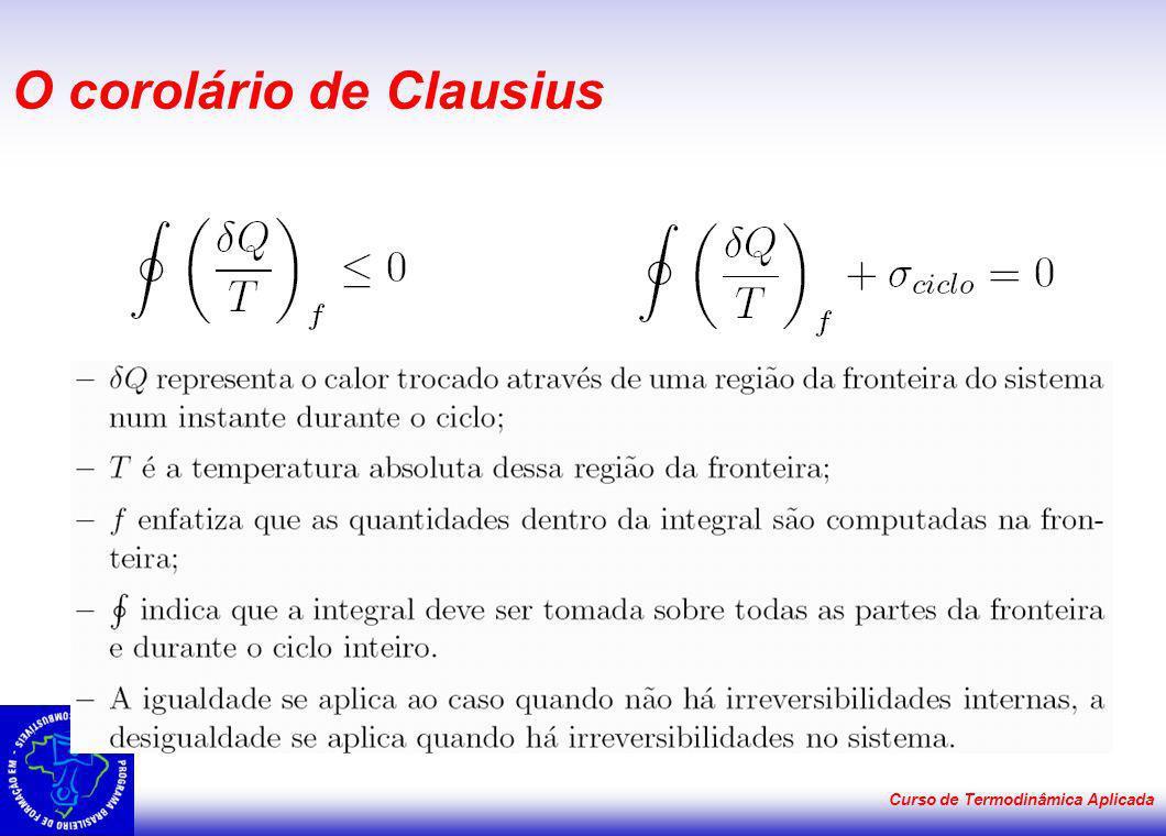 Curso de Termodinâmica Aplicada O corolário de Clausius