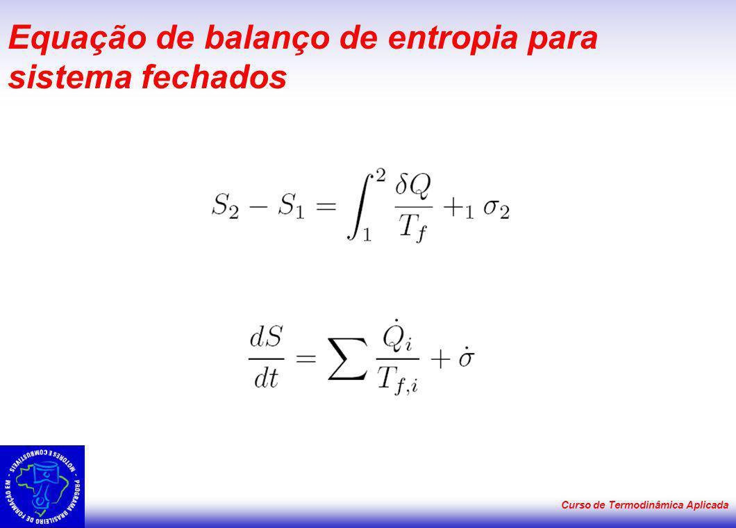 Curso de Termodinâmica Aplicada Equação de balanço de entropia para sistema fechados