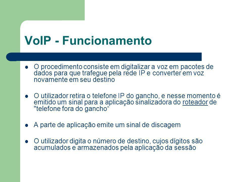 VoIP - Funcionamento O procedimento consiste em digitalizar a voz em pacotes de dados para que trafegue pela rede IP e converter em voz novamente em s