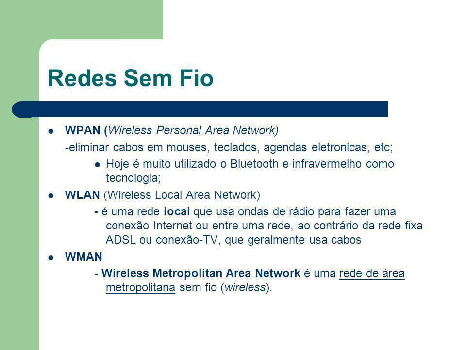 Redes Sem Fio WPAN (Wireless Personal Area Network) -eliminar cabos em mouses, teclados, agendas eletronicas, etc; Hoje é muito utilizado o Bluetooth e infravermelho como tecnologia; WLAN (Wireless Local Area Network) - é uma rede local que usa ondas de rádio para fazer uma conexão Internet ou entre uma rede, ao contrário da rede fixa ADSL ou conexão-TV, que geralmente usa cabos WMAN - Wireless Metropolitan Area Network é uma rede de área metropolitana sem fio (wireless).rede de área metropolitana