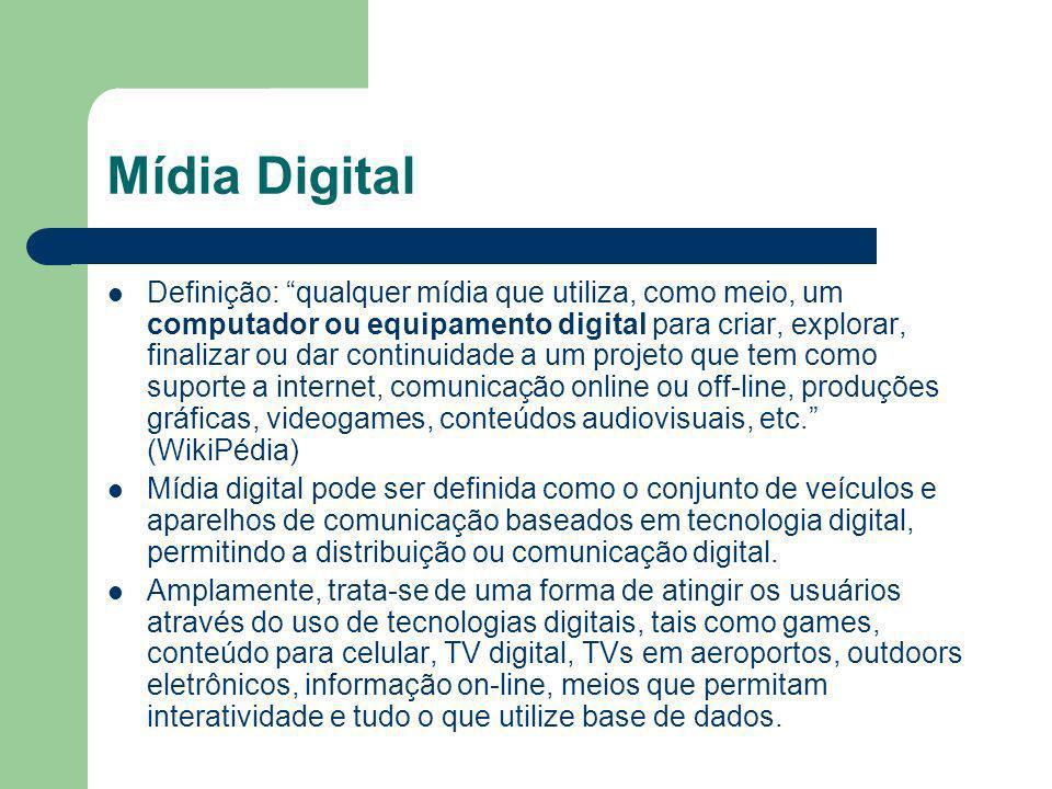 Mídia Digital Definição: qualquer mídia que utiliza, como meio, um computador ou equipamento digital para criar, explorar, finalizar ou dar continuidade a um projeto que tem como suporte a internet, comunicação online ou off-line, produções gráficas, videogames, conteúdos audiovisuais, etc.