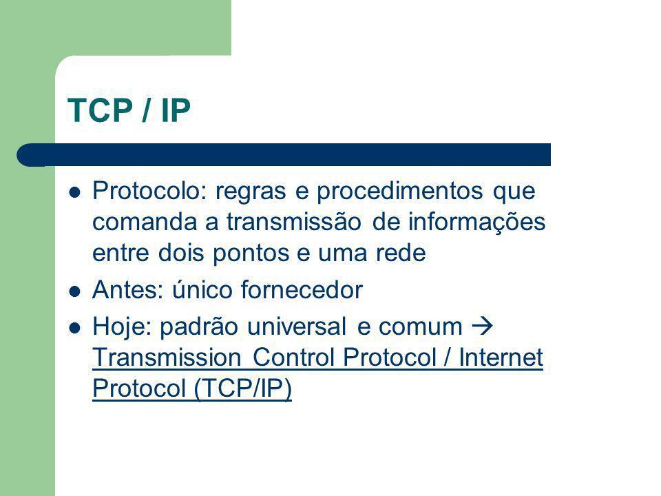 TCP / IP Protocolo: regras e procedimentos que comanda a transmissão de informações entre dois pontos e uma rede Antes: único fornecedor Hoje: padrão universal e comum Transmission Control Protocol / Internet Protocol (TCP/IP)