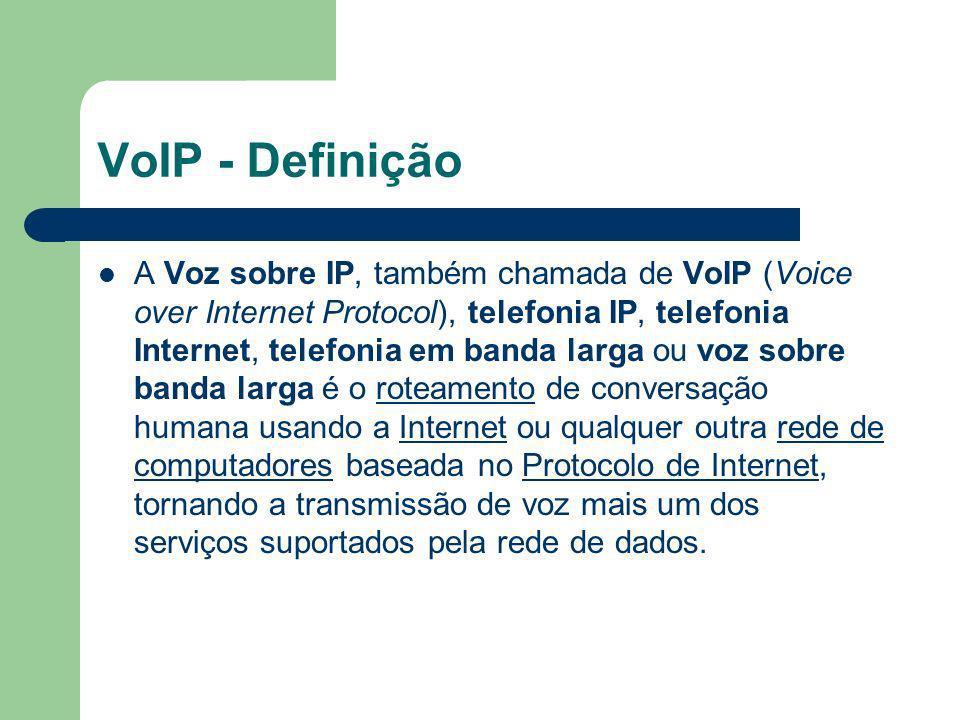 VoIP - Definição A Voz sobre IP, também chamada de VoIP (Voice over Internet Protocol), telefonia IP, telefonia Internet, telefonia em banda larga ou
