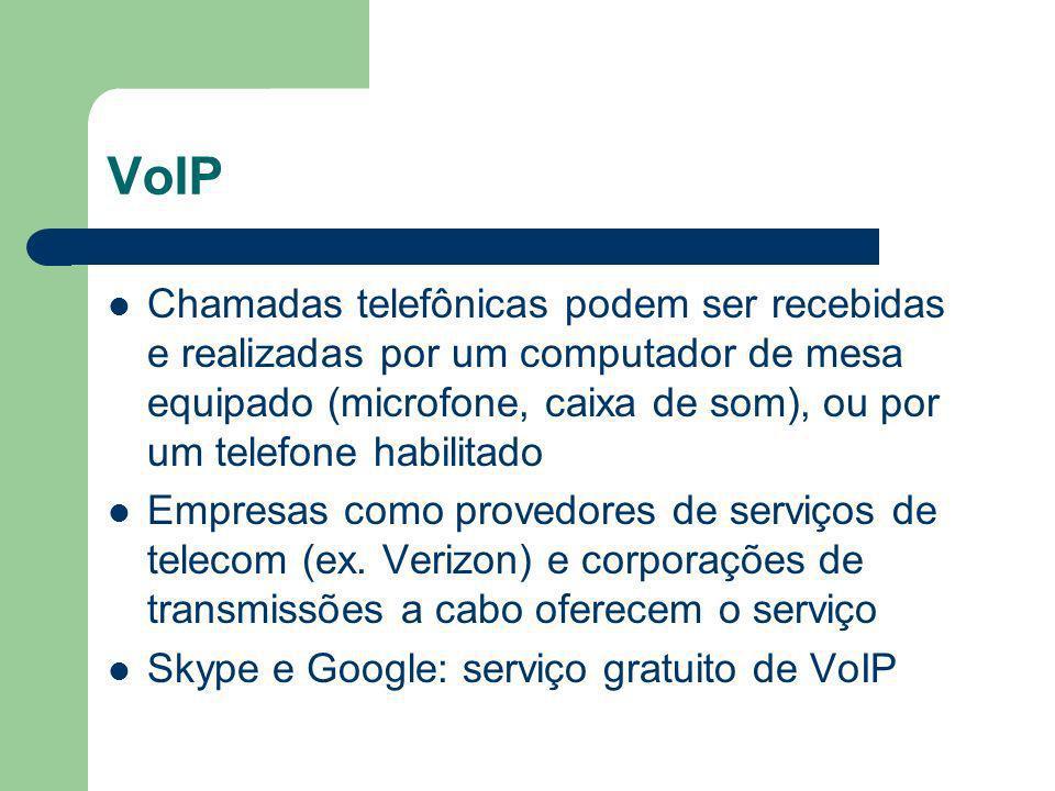 VoIP Chamadas telefônicas podem ser recebidas e realizadas por um computador de mesa equipado (microfone, caixa de som), ou por um telefone habilitado Empresas como provedores de serviços de telecom (ex.