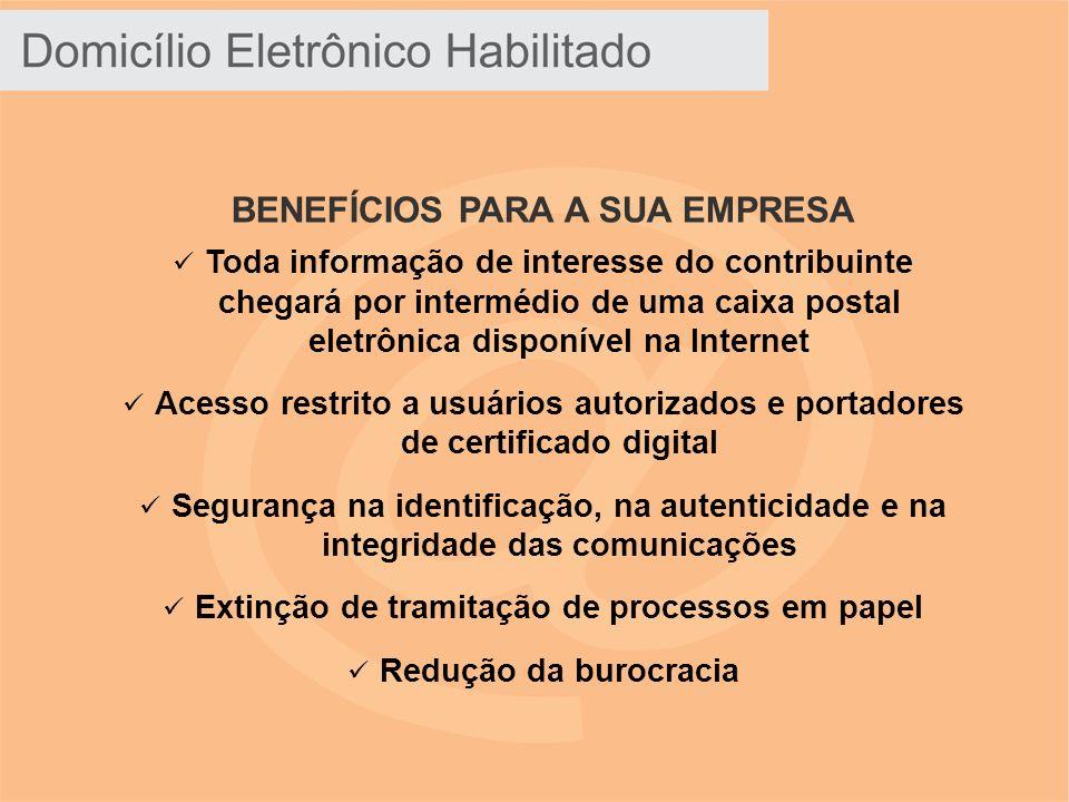BENEFÍCIOS PARA A SUA EMPRESA Toda informação de interesse do contribuinte chegará por intermédio de uma caixa postal eletrônica disponível na Interne