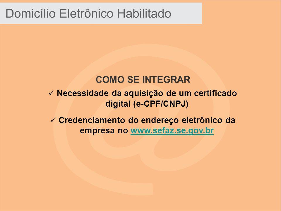 COMO SE INTEGRAR Necessidade da aquisição de um certificado digital (e-CPF/CNPJ) Credenciamento do endereço eletrônico da empresa no www.sefaz.se.gov.brwww.sefaz.se.gov.br