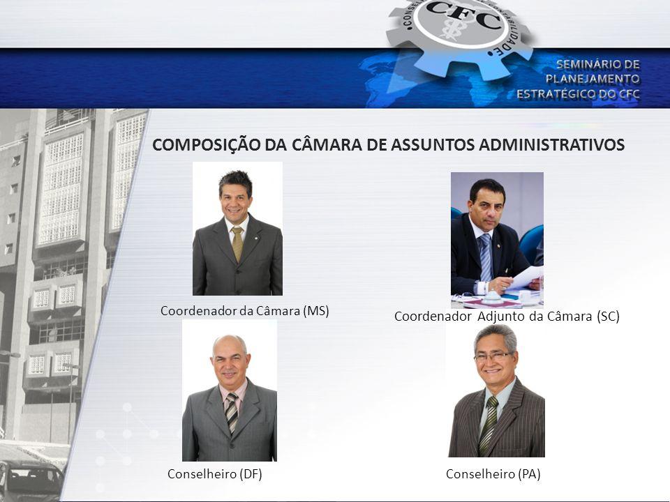 COMPOSIÇÃO DA CÂMARA DE ASSUNTOS ADMINISTRATIVOS Coordenador da Câmara (MS) Coordenador Adjunto da Câmara (SC) Conselheiro (PA)Conselheiro (DF)