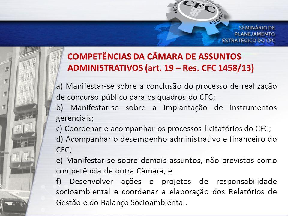 COMPETÊNCIAS DA CÂMARA DE ASSUNTOS ADMINISTRATIVOS (art. 19 – Res. CFC 1458/13) a) Manifestar-se sobre a conclusão do processo de realização de concur