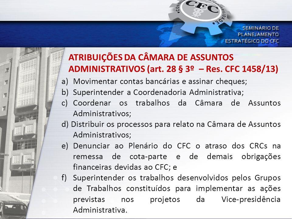 ATRIBUIÇÕES DA CÂMARA DE ASSUNTOS ADMINISTRATIVOS (art. 28 § 3º – Res. CFC 1458/13) a) Movimentar contas bancárias e assinar cheques; b) Superintender