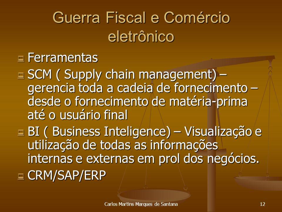 Carlos Martins Marques de Santana12 Guerra Fiscal e Comércio eletrônico Ferramentas Ferramentas SCM ( Supply chain management) – gerencia toda a cadei