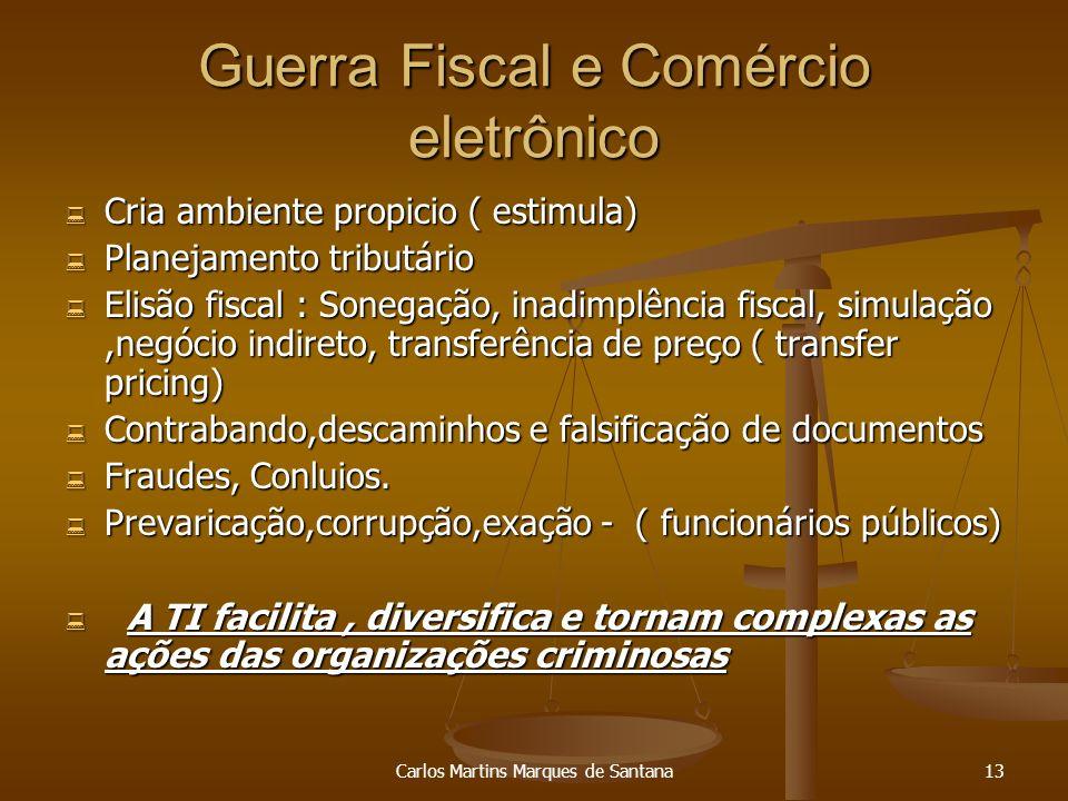 Carlos Martins Marques de Santana13 Guerra Fiscal e Comércio eletrônico Cria ambiente propicio ( estimula) Cria ambiente propicio ( estimula) Planejam