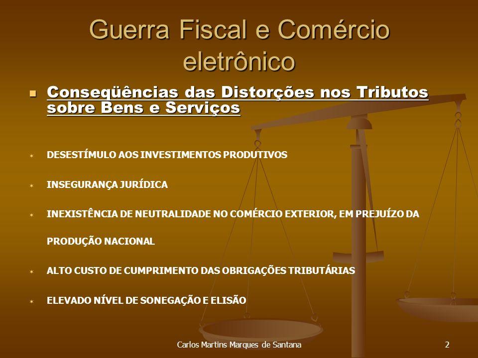 Carlos Martins Marques de Santana3 Guerra Fiscal e Comércio eletrônico SIMPLIFICAÇÃO E DESBUROCRATIZAÇÃO DO SISTEMA TRIBUTÁRIO NEUTRALIDADE EM RELAÇÃO A ALOCAÇÃO DE INVESTIMENTOS (FIM DA GUERRA FISCAL) REDISTRIBUIÇÃO DAS RECEITAS ENTRE OS ENTES FEDERADOS PROPORCIONALMENTE ÀS SUAS RESPONSABILIDADES DESONERAÇÃO DAS EXPORTAÇÕES REDUÇÃO DA REGRESSIVIDADE E PROMOÇÃO DE JUSTIÇA FISCAL AMPLIAÇÃO DO UNIVERSO DE CONTRIBUINTES ELEVAÇÃO DO INVESTIMENTO PRODUTIVO GERAÇÃO DE EMPREGO E RENDA