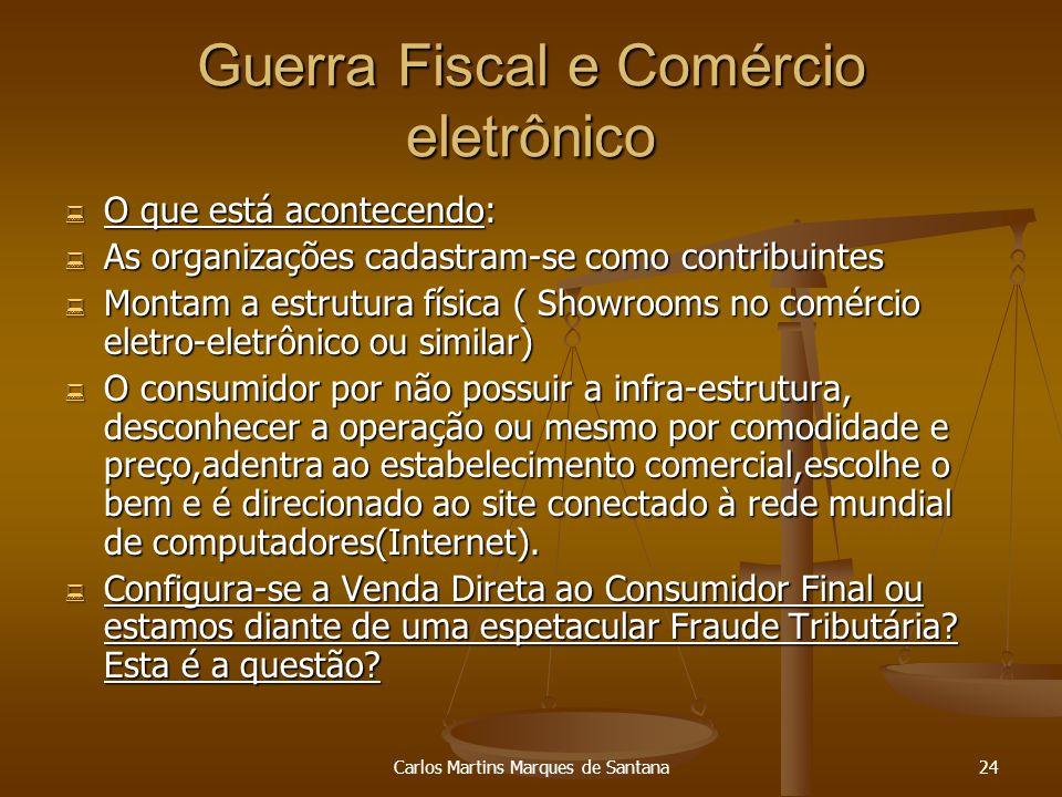 Carlos Martins Marques de Santana24 Guerra Fiscal e Comércio eletrônico O que está acontecendo: O que está acontecendo: As organizações cadastram-se c