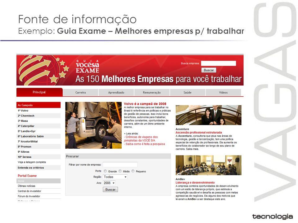 Fonte de informação Exemplo: Guia Exame – Melhores empresas p/ trabalhar