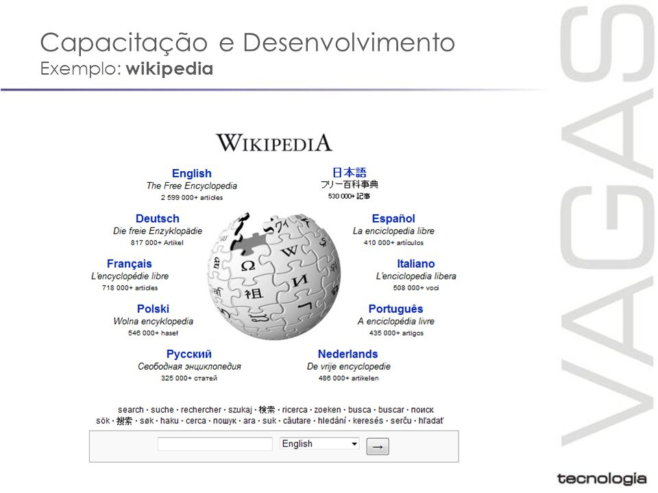 Capacitação e Desenvolvimento Exemplo: wikipedia