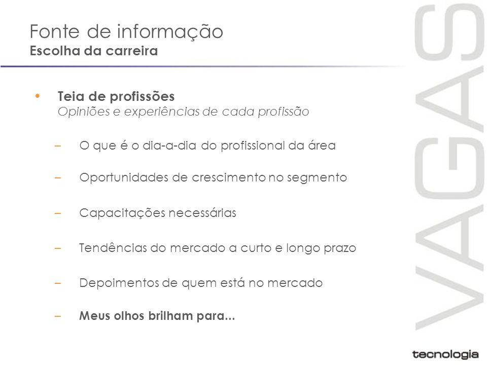Fonte de informação Exemplo: www.ikwa.com.br Teia de profissões, cursos e escolas, vídeos com depoimentos de alunos e funcionários de empresas...