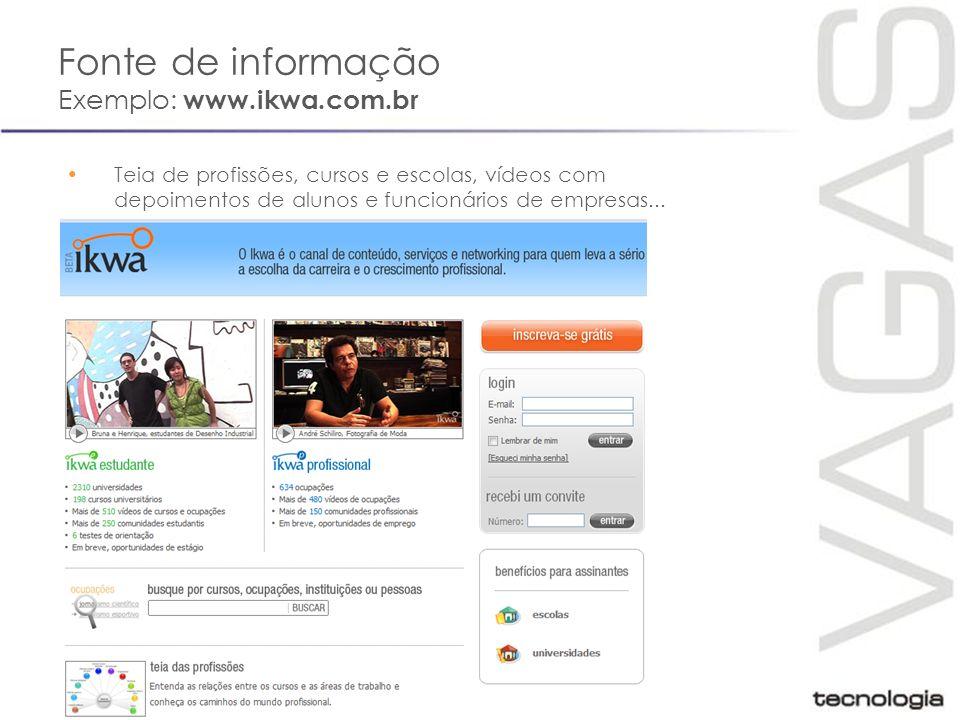 Oportunidades Exemplo: VAGAS.com.br 2,2 milhões de candidatos cadastrados Oportunidades de mais de 650 empresas Serviços 100% gratuitos para candidatos
