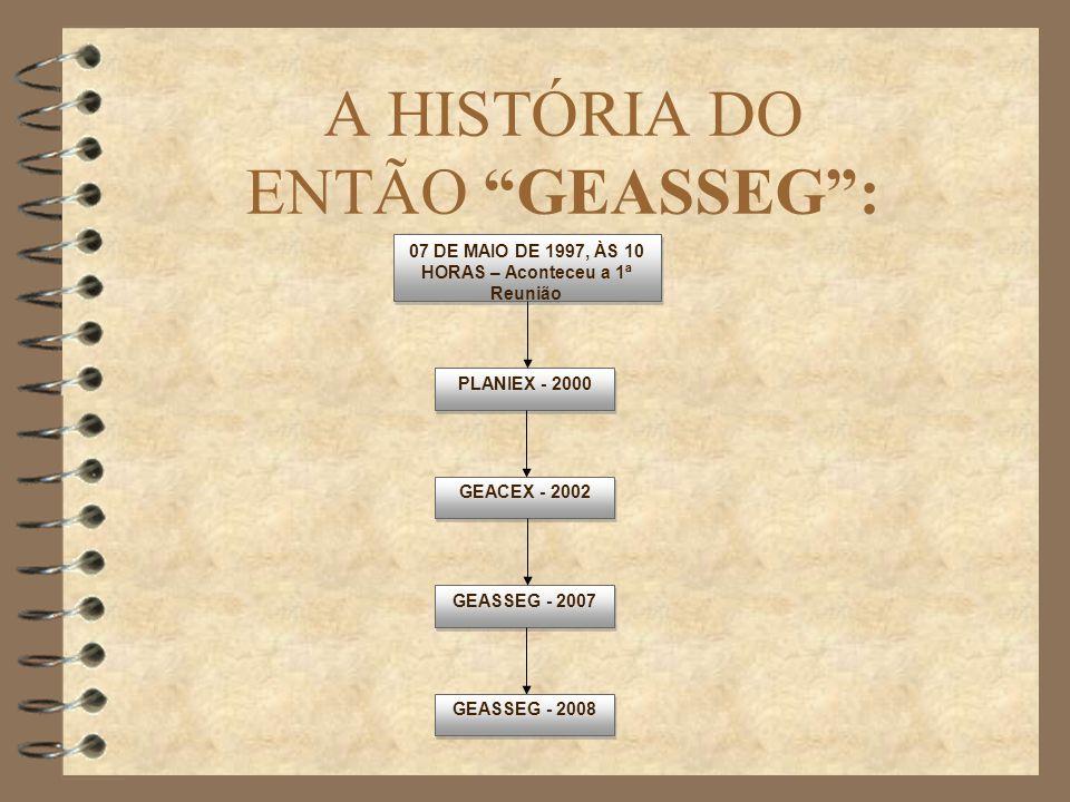 A HISTÓRIA DO ENTÃO GEASSEG: 07 DE MAIO DE 1997, ÀS 10 HORAS – Aconteceu a 1ª Reunião PLANIEX - 2000 GEASSEG - 2007 GEACEX - 2002 GEASSEG - 2008