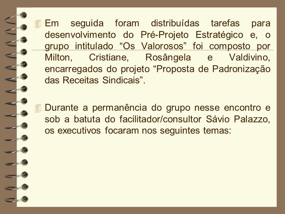 4 Em seguida foram distribuídas tarefas para desenvolvimento do Pré-Projeto Estratégico e, o grupo intitulado Os Valorosos foi composto por Milton, Cr