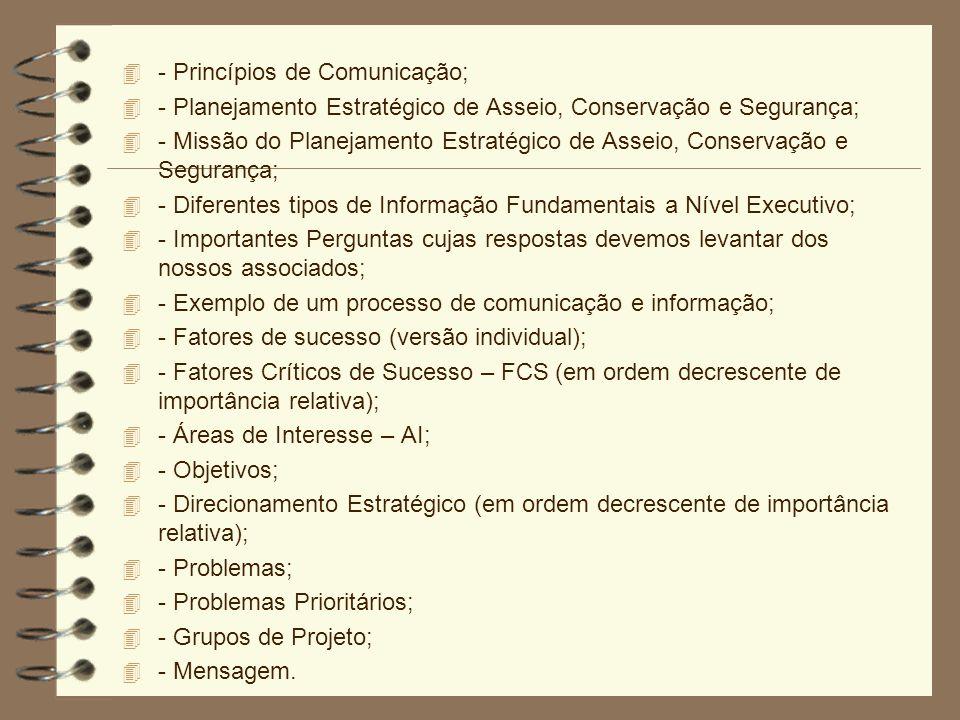 4 - Princípios de Comunicação; 4 - Planejamento Estratégico de Asseio, Conservação e Segurança; 4 - Missão do Planejamento Estratégico de Asseio, Cons