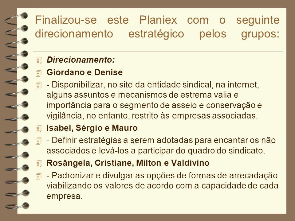 Finalizou-se este Planiex com o seguinte direcionamento estratégico pelos grupos: 4 Direcionamento: 4 Giordano e Denise 4 - Disponibilizar, no site da