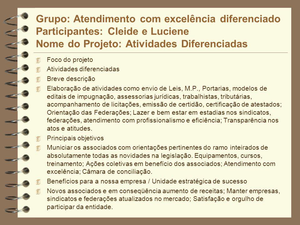 Grupo: Atendimento com excelência diferenciado Participantes: Cleide e Luciene Nome do Projeto: Atividades Diferenciadas 4 Foco do projeto 4 Atividade