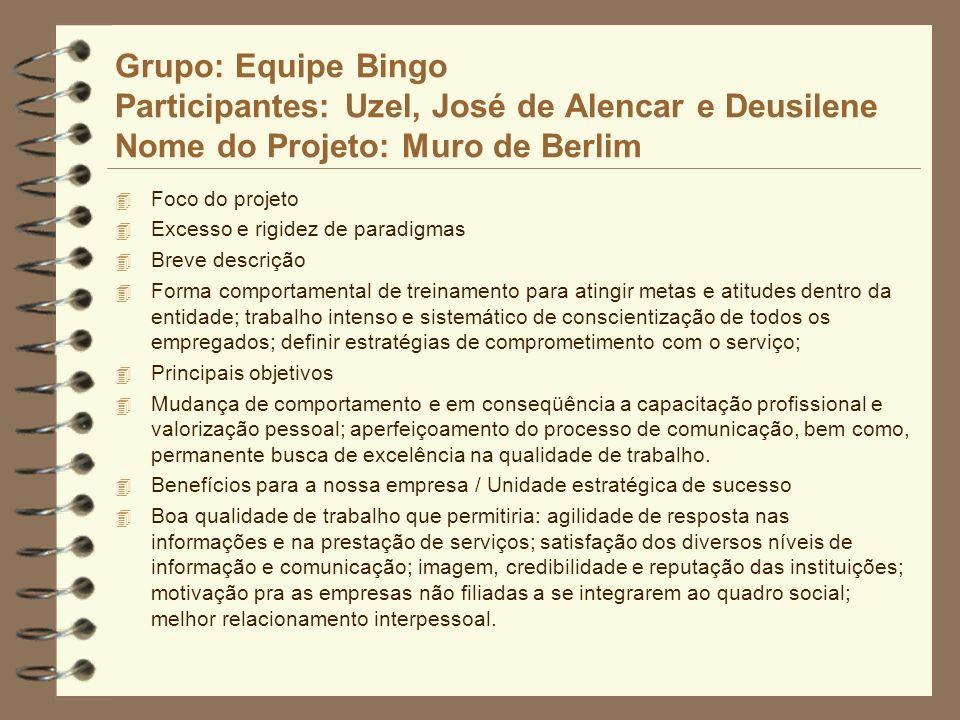 Grupo: Equipe Bingo Participantes: Uzel, José de Alencar e Deusilene Nome do Projeto: Muro de Berlim 4 Foco do projeto 4 Excesso e rigidez de paradigm