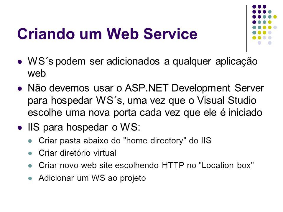 Criando um Web Service WS´s podem ser adicionados a qualquer aplicação web Não devemos usar o ASP.NET Development Server para hospedar WS´s, uma vez q