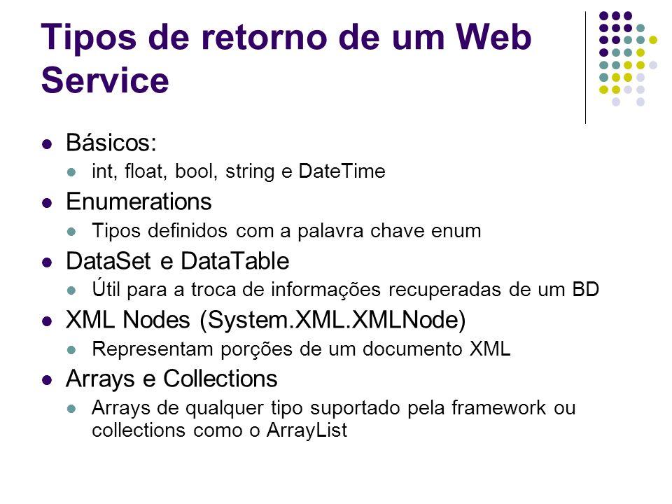 Tipos de retorno de um Web Service Básicos: int, float, bool, string e DateTime Enumerations Tipos definidos com a palavra chave enum DataSet e DataTa