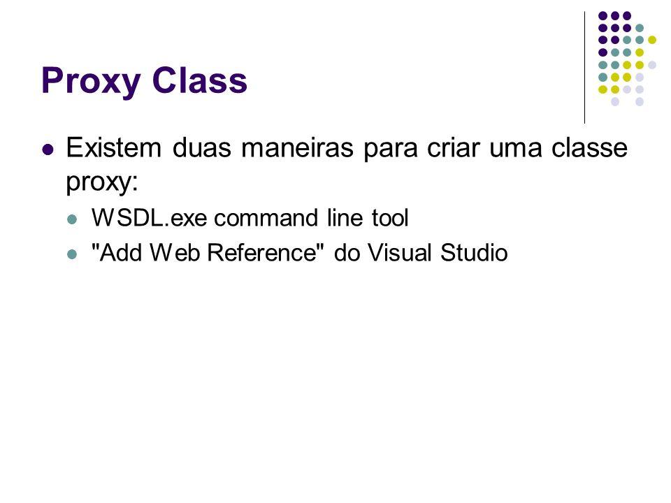Proxy Class Existem duas maneiras para criar uma classe proxy: WSDL.exe command line tool