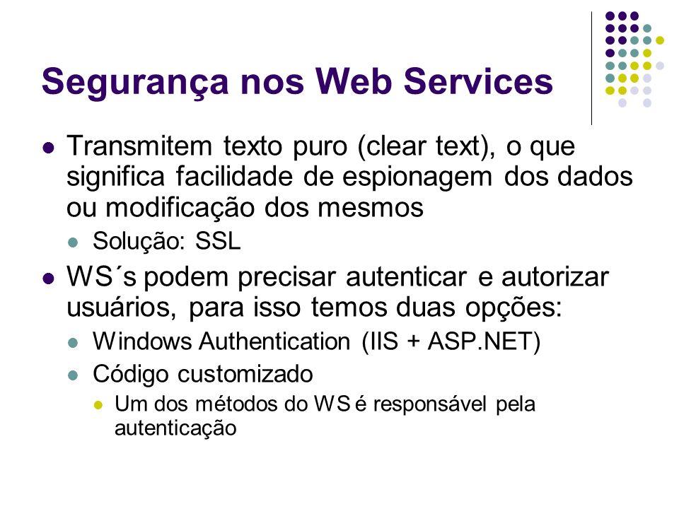 Segurança nos Web Services Transmitem texto puro (clear text), o que significa facilidade de espionagem dos dados ou modificação dos mesmos Solução: S