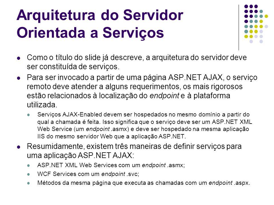 Arquitetura do Servidor Orientada a Serviços Como o título do slide já descreve, a arquitetura do servidor deve ser constituída de serviços. Para ser