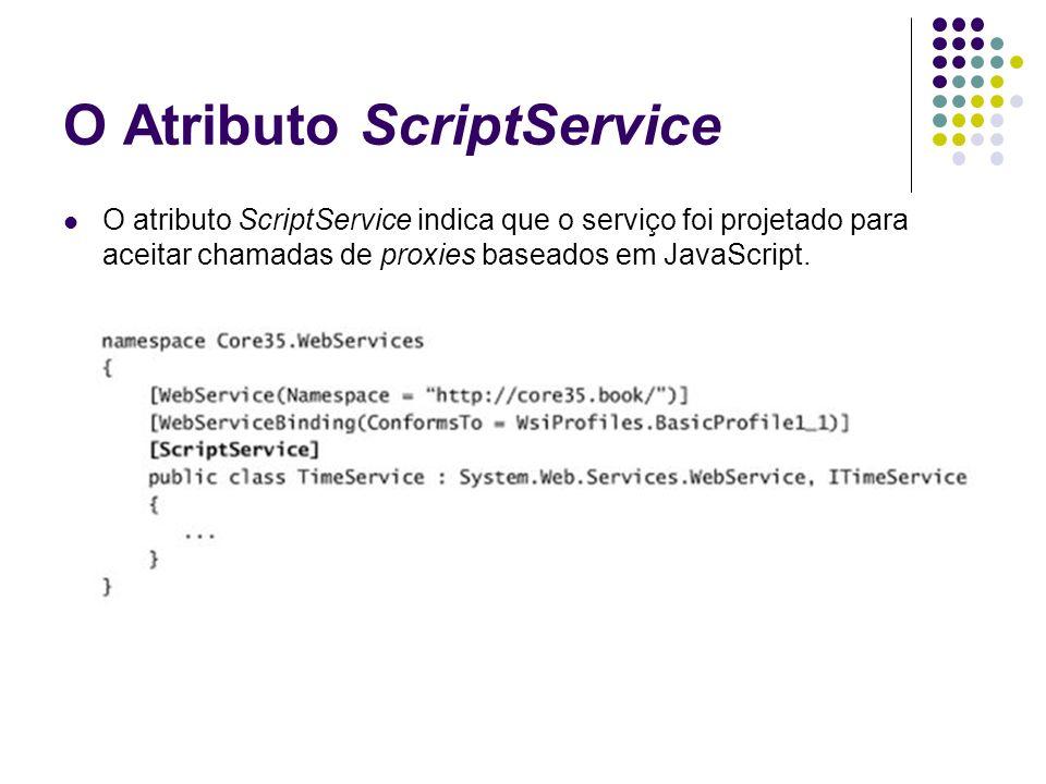 O Atributo ScriptService O atributo ScriptService indica que o serviço foi projetado para aceitar chamadas de proxies baseados em JavaScript.
