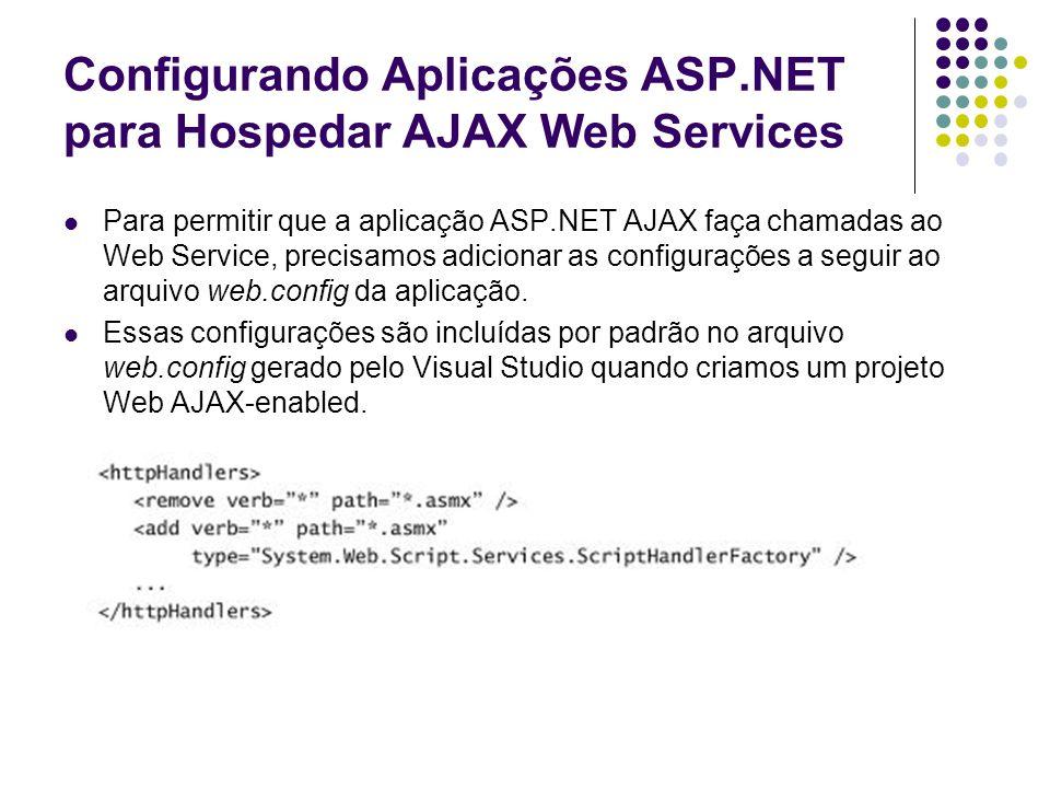 Configurando Aplicações ASP.NET para Hospedar AJAX Web Services Para permitir que a aplicação ASP.NET AJAX faça chamadas ao Web Service, precisamos ad