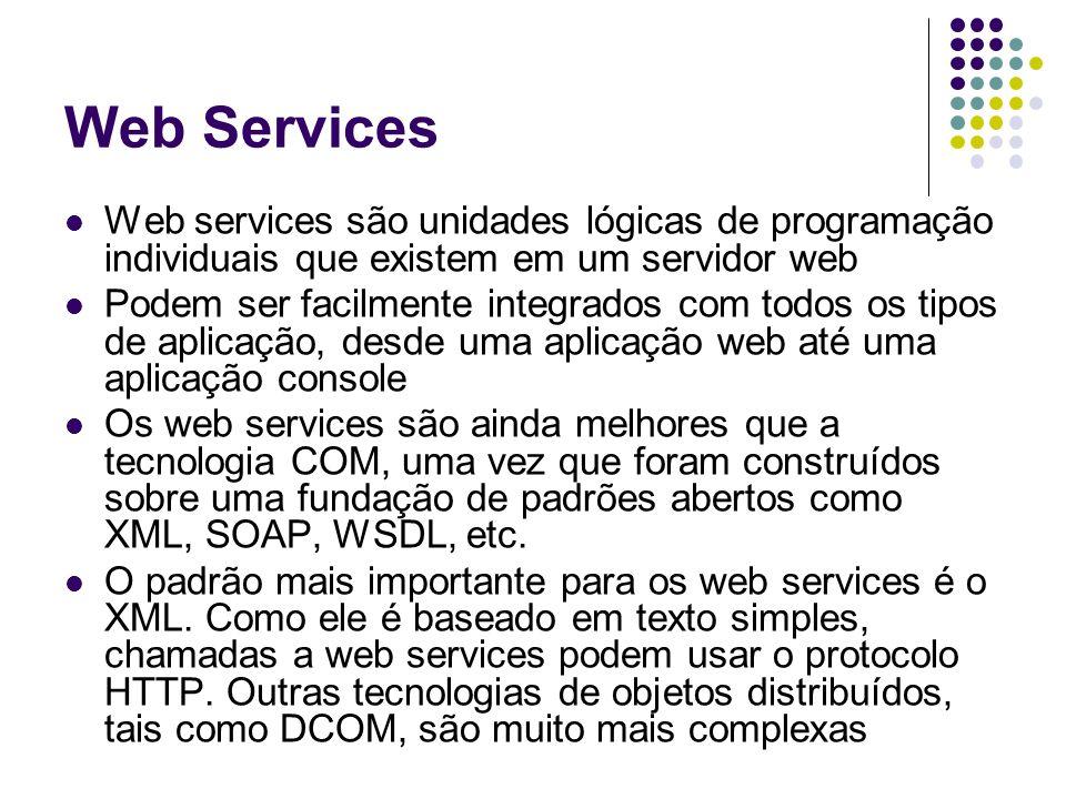 Web Services Características Interfaces para transações e regras de negócios Baseado em protocolos e padrões como: XML, WSDL, SOAP, HTTP e UDDI Tecnologia de padrão aberto definida pelo W3C, utilizada por empresas como a SUN, Microsoft, IBM e HP Residem em um servidor Web, como as páginas de Internet e têm um endereço URL Podem ser utilizados em ambientes com firewalls São chamados por outros programas, e recebem seus parâmetros em formato XML Respondem às chamadas com dados formatados em XML
