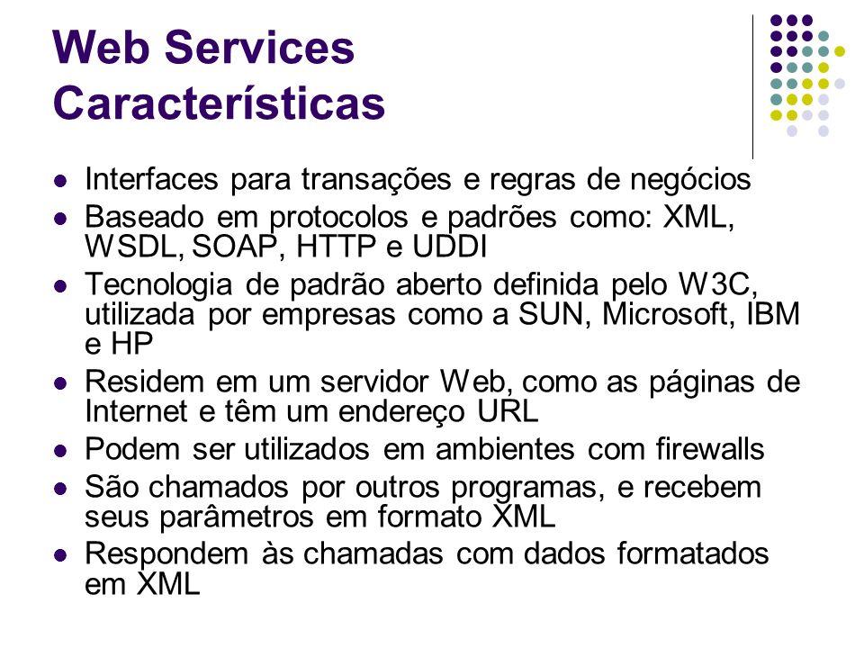 Web Services Características Interfaces para transações e regras de negócios Baseado em protocolos e padrões como: XML, WSDL, SOAP, HTTP e UDDI Tecnol