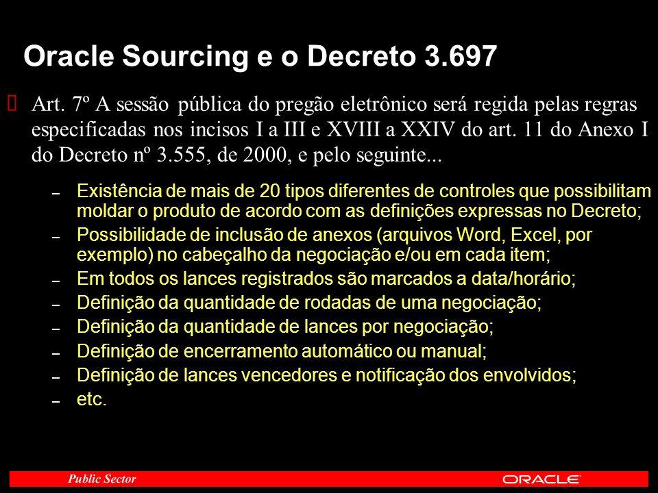 Oracle Sourcing e o Decreto 3.697 Art. 7º A sessão pública do pregão eletrônico será regida pelas regras especificadas nos incisos I a III e XVIII a X