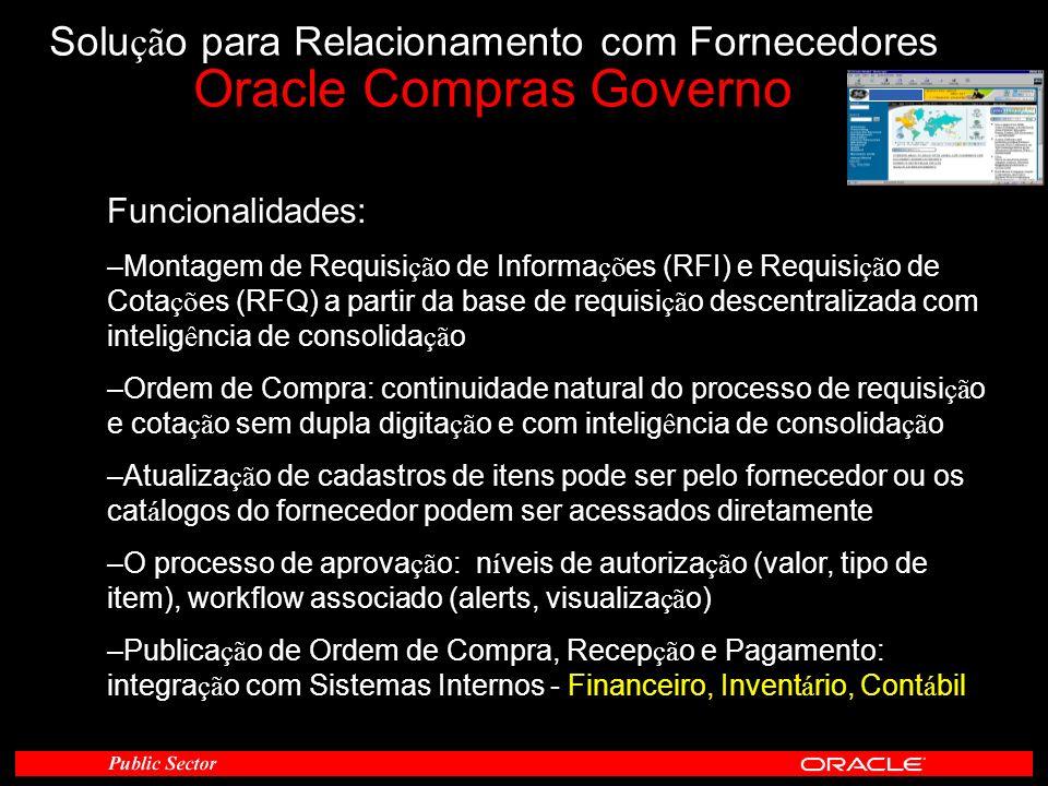 Funcionalidades: –Montagem de Requisi çã o de Informa çõ es (RFI) e Requisi çã o de Cota çõ es (RFQ) a partir da base de requisi çã o descentralizada
