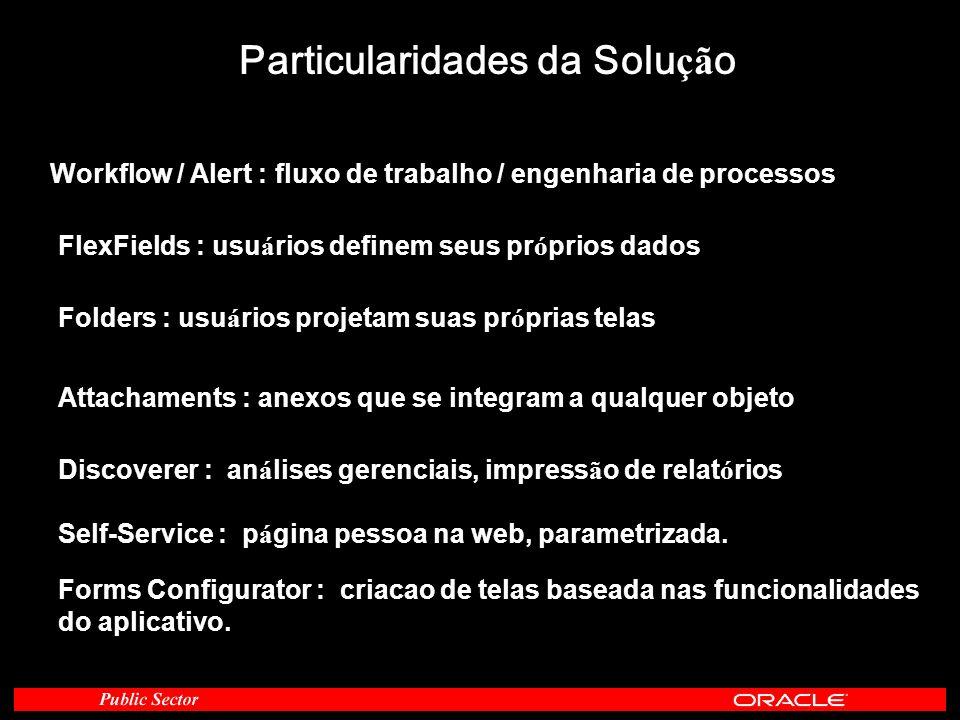 Particularidades da Solu çã o Workflow / Alert : fluxo de trabalho / engenharia de processos FlexFields : usu á rios definem seus pr ó prios dados Fol