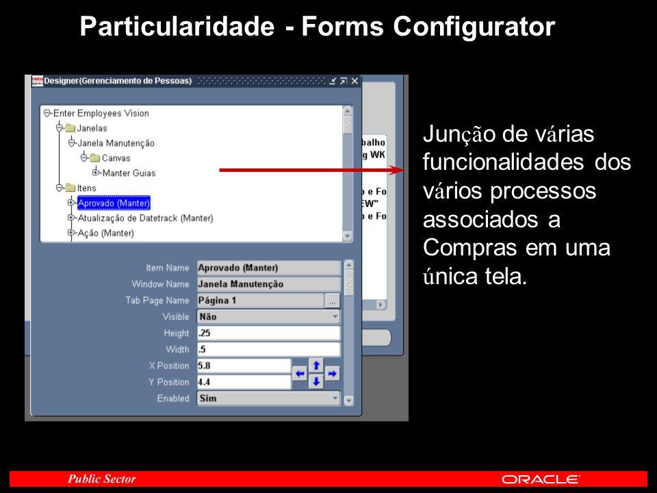 Particularidade - Forms Configurator Jun çã o de v á rias funcionalidades dos v á rios processos associados a Compras em uma ú nica tela.